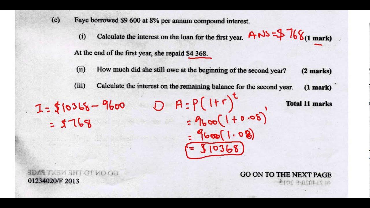 Csec Cxc Maths Past Paper 2 Question 1c May 2013 Exam