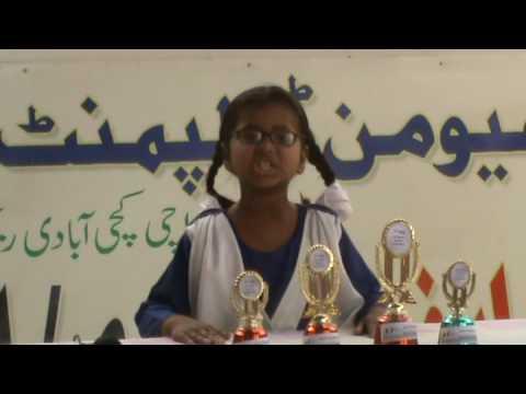Nazia Class 2, wins Karachi Slum Kid in Speech Competition - March 09