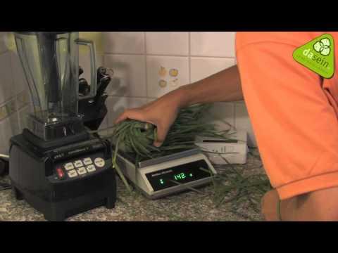 Weizengras bzw. Süßgrassaft mit händischer Lexen Grassaft Presse
