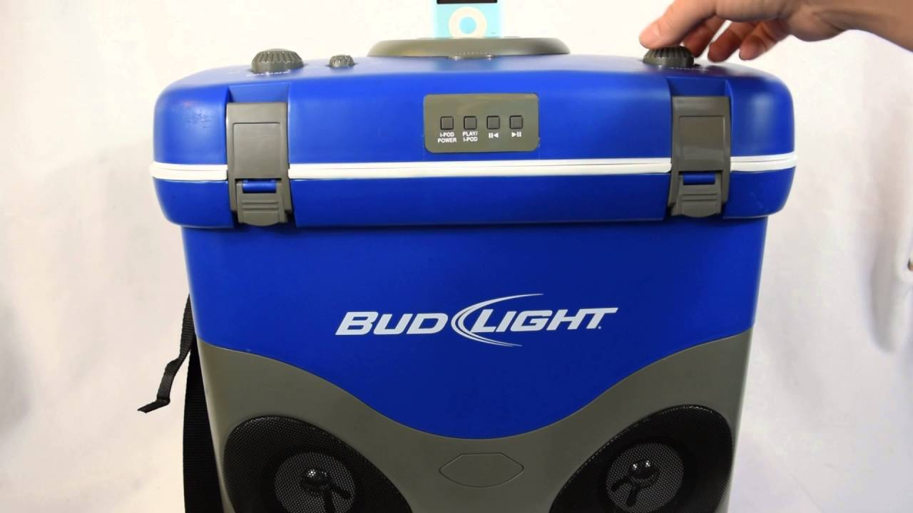 Bud light cooler with speakers