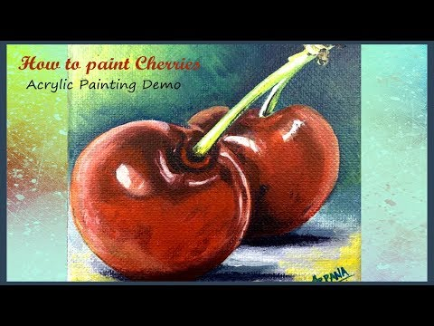 cherry painting | canvas art | acrylic painting demo