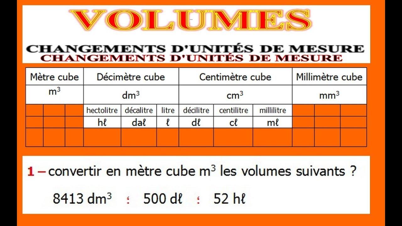Maths 5ème - Volumes convertir d'unités de mesure Exercice ...