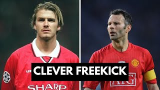 Beckham and Giggs takes a freeckick together