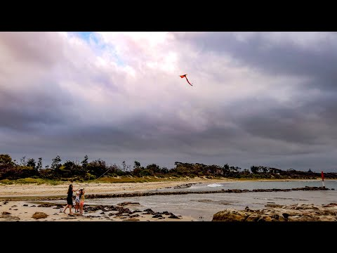 Flying a kite on Currarong Beach, Culburra and Berry