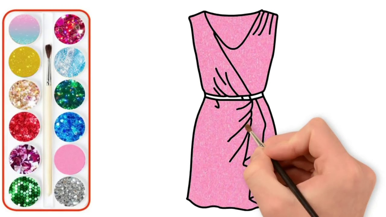 Glitter Dress Coloring And Drawing For Kids Elbise Boyama