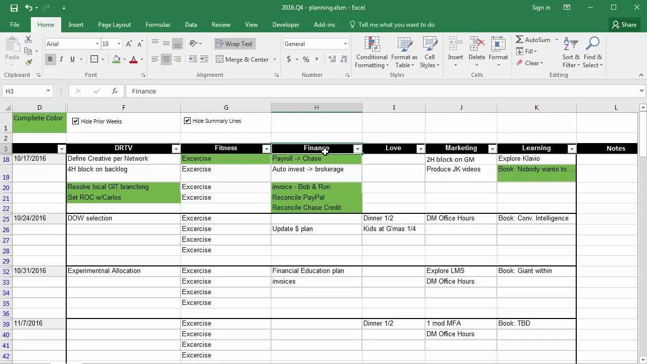 12 Week Mastery - Primary Goals