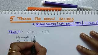 5 Tricks for Boron Halides | Boron family Tricks | 13th group | p block elements by Komali mam