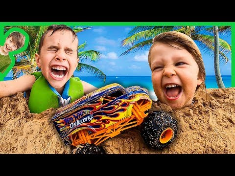 MONSTER TRUCKS AND SAND CASTLES AT THE BEACH!
