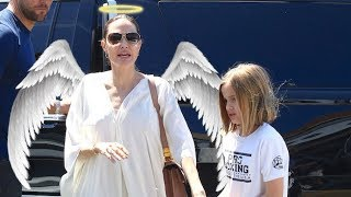 Angelina Jolie Is Angelic In White During Pet Store Run With Daughter Vivienne