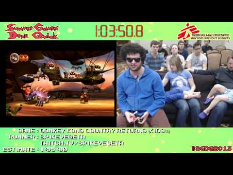 Donkey Kong Country Returns :: SPEED RUN (1:37:26) *Live at #SGDQ 2013* [Wii]