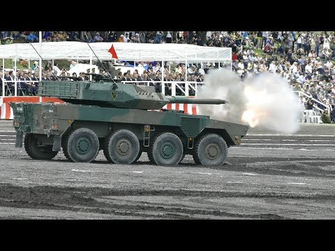 16式機動戦闘車、155㎜榴弾砲の猛射!  富士学校訓練展示2018