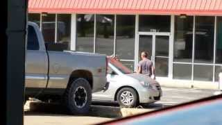white trash fight behind the shop