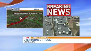 Overturned tractor trailer and fuel spill shuts down southbound I-95 at MD 198