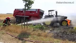Korenveld in brand Blijham
