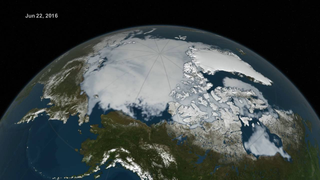 Arctic Sea Ice from March to August 2016 - YouTube