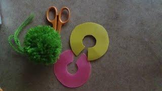 Как сделать приспособление для помпонов?(Если нет специальных приспособлений для помпонов, можно обойтись простыми пластиковыми крышками, или карт..., 2014-09-05T11:33:35.000Z)