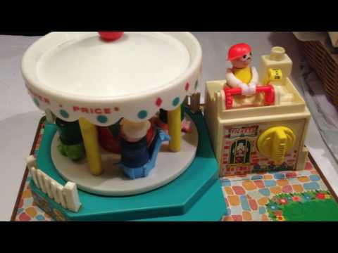 Vintage  Fisher Price Little People  Musical Merry Go Round Complete!
