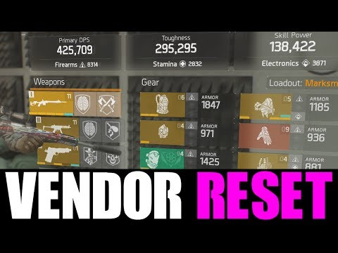 THE DIVISION - VENDOR RESET | GOD ROLL GEAR & GEAR MODS! (YOU NEED TO BUY)