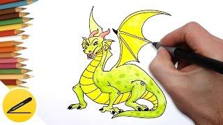 Как Нарисовать Дракона детям поэтапно - Учимся рисовать дракона(Как рисовать Дракона. В этом видео я показываю как легко нарисовать дракона детям (сказочные существа)...., 2016-10-20T16:48:23.000Z)