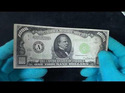 Тысяча долларов США одной купюрой. Крупный номинал американской банкноты 1000 долларов 1934 года