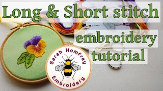 Hand embroidery silk shading  (Long and Short stitch) - Pansy Part 2 - watch Part 1 first.