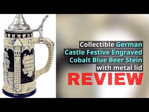 German Beer Stein Collectible Castle Festive Engraved Cobalt Blue