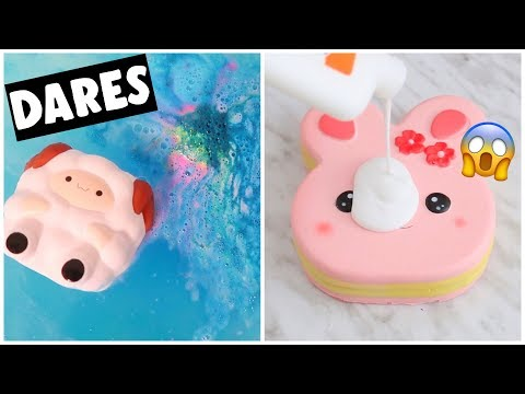 EXTREME SLIME & SQUISHY DARES?! *making jelly cube slime*