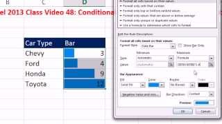 Highline Excel 2013 Class Video 48: Conditional Formatting: Bar Chart with Data Labels