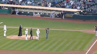 Darth Vader Tosses First Pitch (O.co Coliseum 9/16/11)
