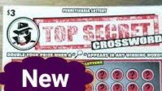 New $3 Top Secret Crossword.  Pa lottery scratch tickets