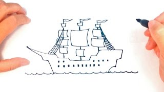 How to draw a Pirate Ship Step by Step | Pirate Ship Easy Draw Tutorial