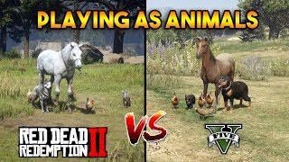 GTA 5 VS RDR2 : Playing as Animals in both games !