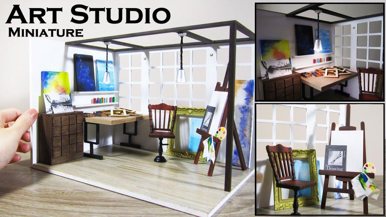 DIY Miniature - Art Studio (Customized Kit) - YouTube
