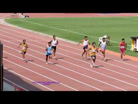 BOY'S U14  100m RUN FINAL. 62nd  NATIONAL SCHOOL GAME'S ATHLETICS CHAMPIONSHIPS-2016-17