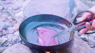 Camping Breakfast Cooking aт the National Park: Eat Steak and listen to birds singing - Susu Vlog