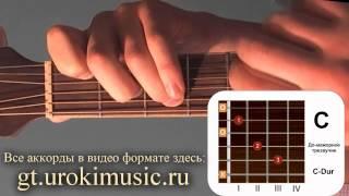 Аккорд C. До мажор. C-dur. Позиция 1. Уроки игры на шестиструнной гитаре urokimusic