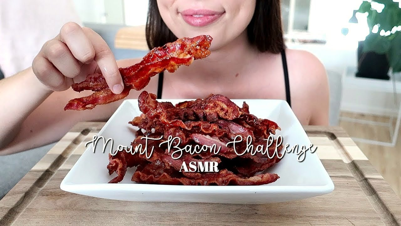 Asmr Mount Bacon Challenge 40 Pieces Of Bacon Crispy Eating Sounds No Talking