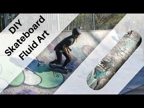 DIY skateboard acrylic pour