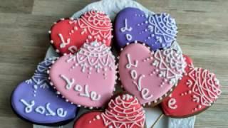 Как оформить имбирное печенье ко Дню Святого Валентина. Valentine's Day cookies