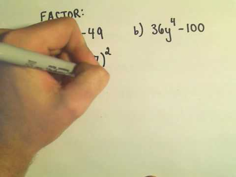 Factoring The Difference Of Two Squares Ex 1