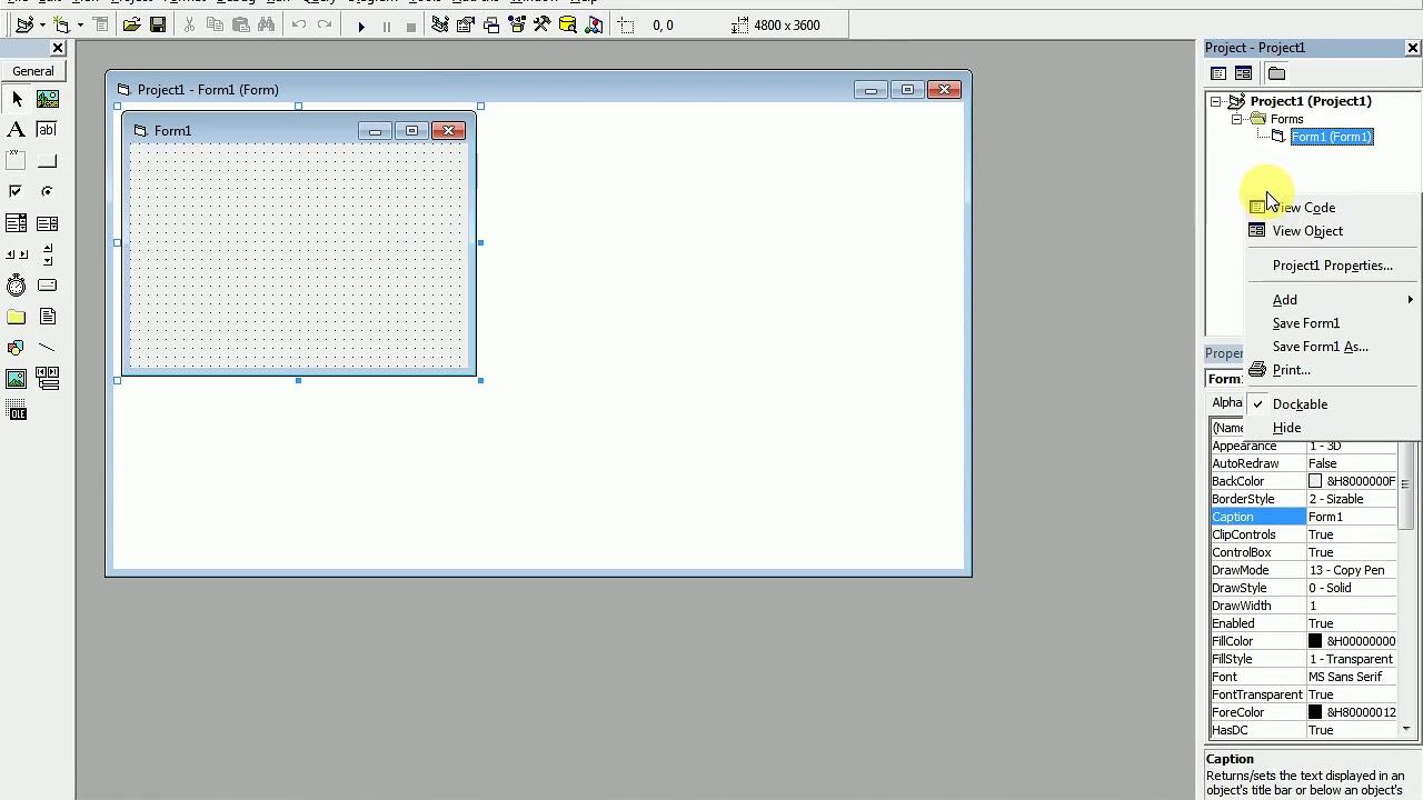MDI form Visual Basic concept