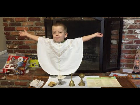 Augustine Saying Mass - 3 Years Old (Easter 2016)