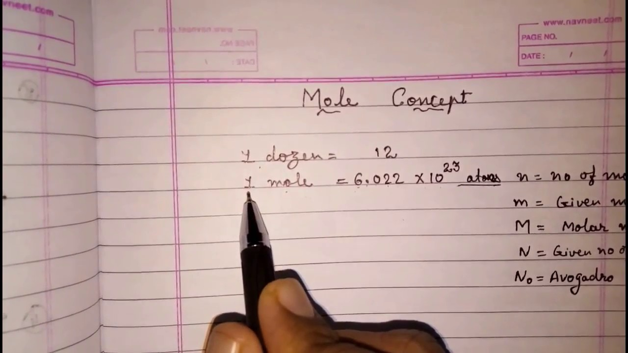 hight resolution of mole concept; class 9 science atoms and molecules (chemistry) - YouTube
