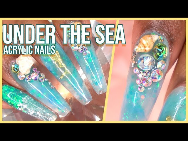 Acrylic Nails Tutorial - How To Encapsulated Nails Under the Sea Marble Nails with Nail Tips