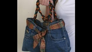 Repeat youtube video DIY Fashion Jeans BAG ( recycled denim) DIY Bag Vol 1A