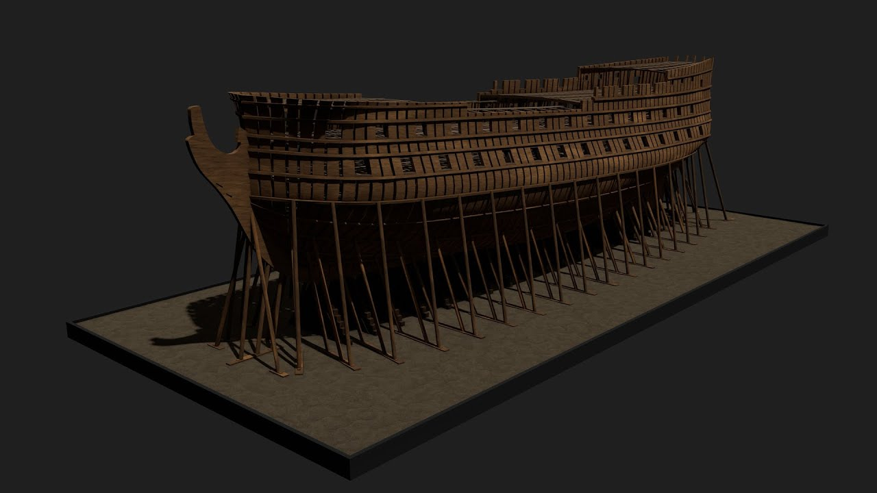 etapes de construction 3d d 39 un navire de 74 canons youtube. Black Bedroom Furniture Sets. Home Design Ideas