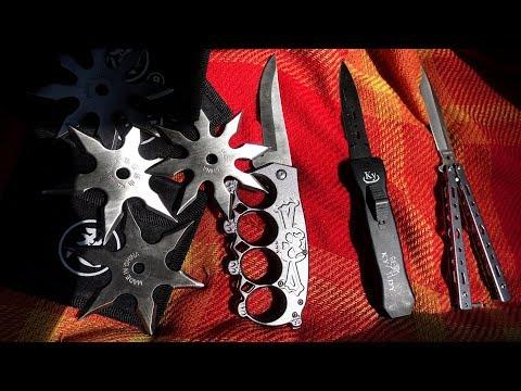 Ich zeige euch Waffen die in Deutschland verboten sind - Wurfsterne, Automatik Messer, Butterfly...