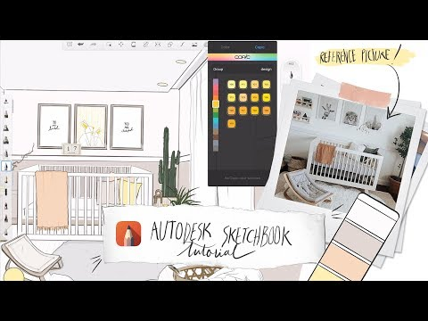 Autodesk Sketchbook on iPad Pro, Tutorial + Sketch a Space with me! :) thumbnail