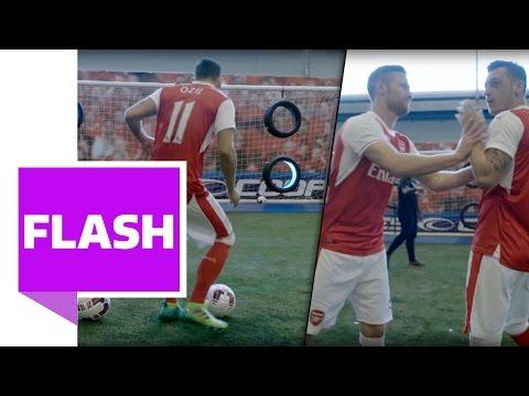 Özil gegen Mustafi und Chamberlain: Das Reifenschießen der Arsenal-Stars