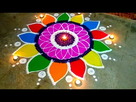 Rangoli designs 2018 | beautiful flower rangoli designs | simple and easy rangoli designs by simul